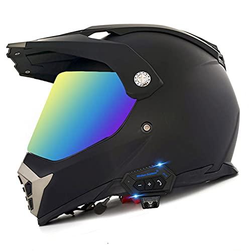 Moto Cross Helm Bluetooth Integral Boy Full Face Motocross Helm Downhill Motard Helm Mit DOT Approved Visier Moto Cross Integralhelme Für Damen Herren, Matt Schwarz Colored Lenses,XL