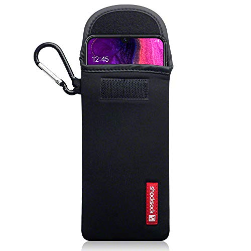 shocksock, Kompatibel mit Samsung Galaxy A50 Neopren Tasche mit Carabiner Hülle - Schwarz