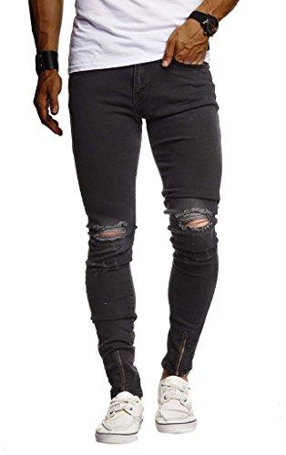 Leif Nelson Herren Jeans Hose Slim Fit Denim Blaue graue Lange Jeanshose für Männer Coole Jungen weiße Stretch Freizeithose Schwarze Cargo Chino Sommer Winter Basic LN9265 Schwarz W32/L32
