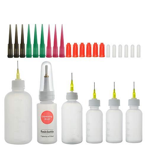 Nadelflaschen, Präzisionsspitzen-Applikator-Flaschen mit 14 Stück Dosiernadeln und 12 Stück Kappen und 1 Stück Dosierbürste, für DIY Craft Nachfüllkleber(30/50/100ml) (B)