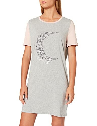 Marchio Amazon - Iris & Lilly Camicia da Notte a Manica Corta in Cotone Jersey Donna, Grigio (heather grey), S, Label: S