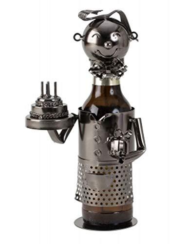 Moderner Flaschenhalter Bierflaschenständer Geburtstag aus Metall in silber Höhe 24 cm