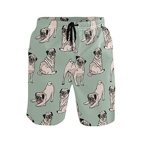 akingstore Hunde Mops Muster niedlichen Badehose für Männer Jungen Quick Dry Beach Shorts mit Taschen
