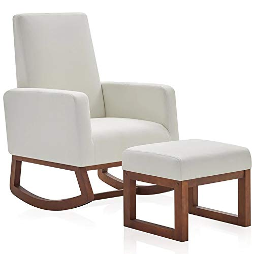 High Back Armchair Rocking Chair with Ottoman (White)