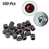 100 PCS Black Tire Valve Caps, with O Rubber...