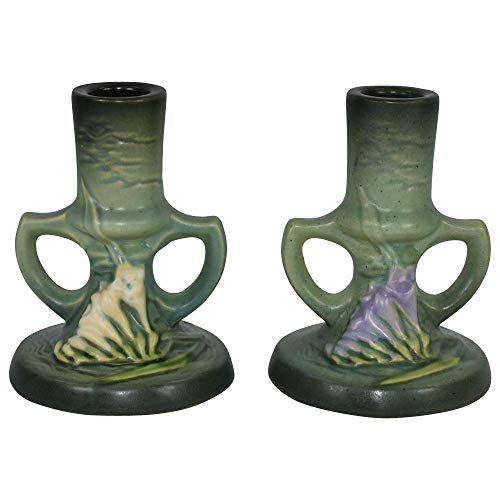 Roseville Pottery Freesia Green Candle Holders 1161-4
