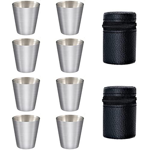 8 Piezas Vasos de Chupito de Acero Inoxidable, 30ml Vasos Copas Metal Apilables, Tazas de Cerveza Portátiles Acero Inoxidable, Vasos de Cerveza de Metal para Fiestas de Camping al Aire Libre