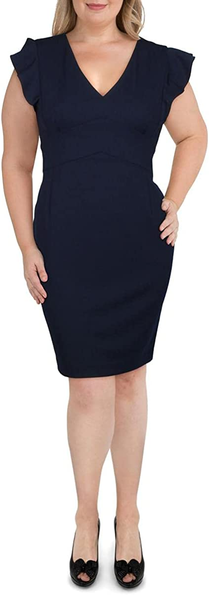 DKNY Women's V-Neck Sheath Dress with Ruffle Sleeve