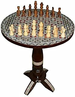 """Chess Game Table, 16"""" Diameter Egyptian Mother of Pearl Inlay Coffee Side Table"""