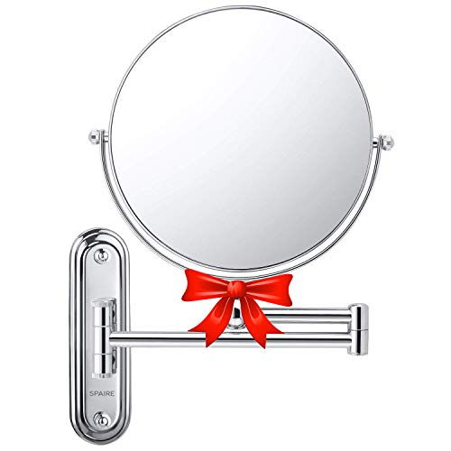 spaire Espejo de Baño con Aumento 7X Normal Reversible 8 Pulgadas Redondo de Pared Espejo de Baño Giratorio, Extensible y con Acabado Cromado