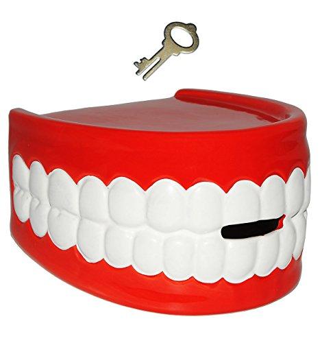 alles-meine.de GmbH große XL Spardose -  Gebiss & Zähne  - mit Schlüssel - stabile Sparbüchse aus Porzellan / Keramik - Zahnarzt - Sparschwein - lustig witzig - Zähne Lippen Pf..
