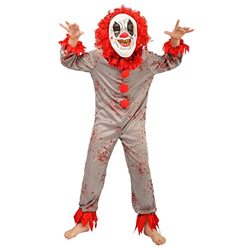 Halloween Clothes for Boys red Devil Clothes Funky Punk Droll Clothes Boy's Clown Costume for Festival (S,4-6Y)