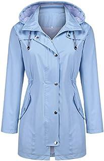 Kikibell Rain Jacket Women Striped Lined Hooded...