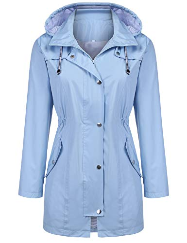 Kikibell Lightweight Jacket with Hood Striped Lined Windbreaker Anorak Jacket Light Blue L