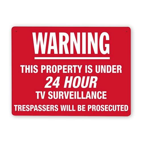 Señal de advertencia,Esta propiedad tiene vigilancia por televisión las 24 horas,los intrusos serán procesados,Señal de advertencia de tráfico de metal de aluminio de estaño 8x12 Inch