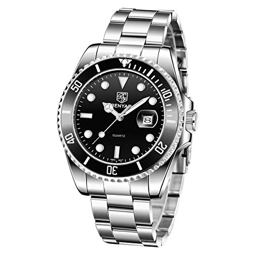 BENYAR Relojes para Hombre Reloj de Cuarzo analógico de Acero Inoxidable a Prueba de Agua Reloj de Pulsera de Negocios de Moda para Hombre