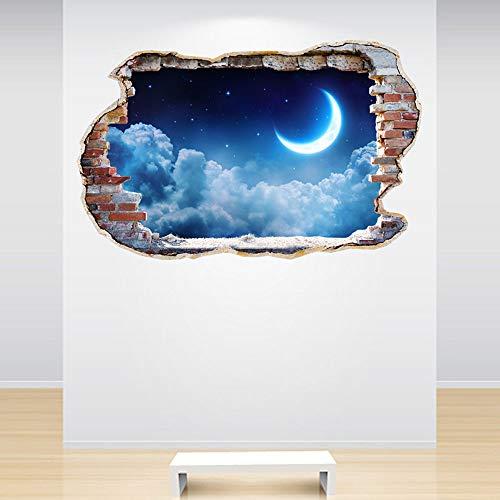 zhuziji Autocollant Mural en Vinyle Nuage Lune Pendentif anthropomorphe Enfants Chambre de b/éb/é Amovible d/écoration de la Maison Autocollants 57x60 cm