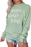 Dresswel Damen Mom of Boys Pullover Mama Sweatshirt mit Rundhalsausschnitt Langarmshirt Pulli Bluse Oberteile Top