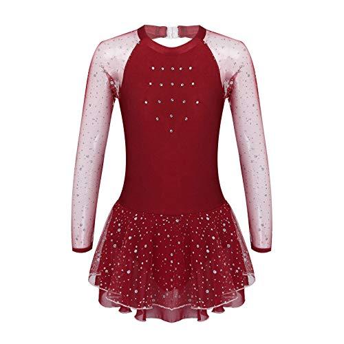 Freebily Maillot Nia Ballet Danza Vestido de Patinaje Artistico sobre Hielo para Nia Manga Larga Disfraz Bailarina Body de Danza Baile con Falda Chica Burgundy 5-6 aos