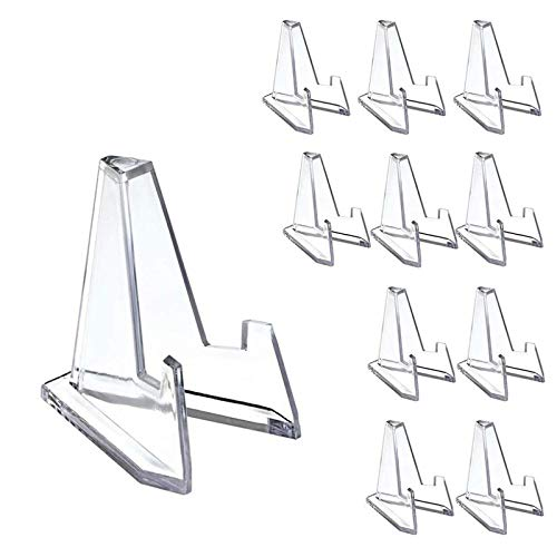 ZHaoZC 40 Pcs/Set Mini Display Stand Easel, Clear Acrylic Easel Stands Coin Medal Small Item Display Easel Rack for Capsules Challenge Medals Casino Chips