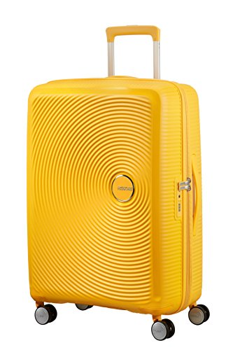 AMERICAN TOURISTER Soundbox - Spinner S Espandibile Bagaglio a Mano, Spinner M (67 cm - 81 L), Giallo (Golden Yellow)