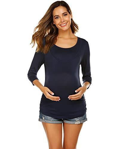 Unibelle damska koszulka do karmienia z długim rękawem, rękawy 3/4, bluzka ciążowa z funkcją karmienia, ciążowa koszulka z okrągłym dekoltem, warstwowa warstwowa