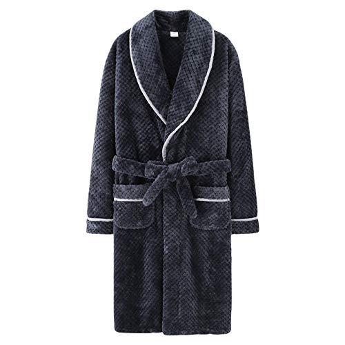 BLACK ELL Albornoces de algodón de otoño e Invierno, Pijamas Gruesos Entre Capas-Masculino C_XL,Bata De Estar por Casa Invierno,SúPer Suave Bata Larga Ropa De Casa para
