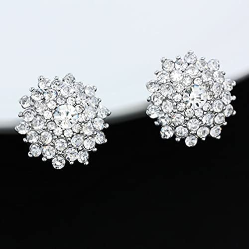 Luxury Big Crystal Gold Clip Earrings Without Piercing Round Clip On Earrings for Women Clip Ears Rhinestones Wedding Jewelry