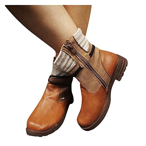 Binggong Botines de mujer vintage para mujer, botas cortas de vaquero, con cremallera, elegantes, planos, cómodos, antideslizantes, botas de invierno