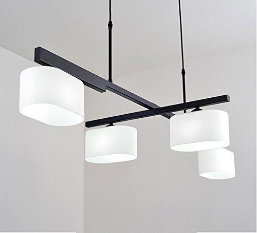 Modernen Gestalten Pendelleuchten 90 Grad Drehbar Pendelampe 4 flammig Hängelampe Eisen Hängeleuchte Glas Lampenschirm Lüster für Esstisch Wohnzimmer Schlafzimmer 4*E27 max.60W