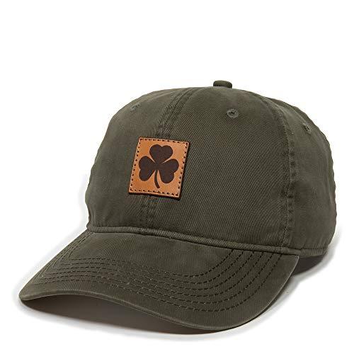Irish Shamrock Leather Patch Dad Hat - Adjustable Polo Style Baseball Cap for Men & Women (Olive)