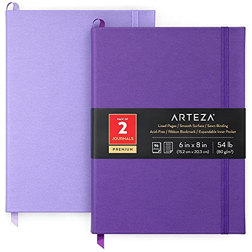 Arteza Journal Notebooks, Pack of 2, 6 x 8 inches, 96 Sheets, Lavender and Purple, Hardcover Notepads with Smooth Lined Paper for Writing, Journaling
