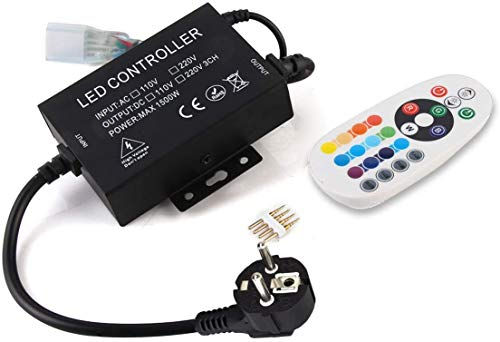 GreenSun RF Controller für Led Strip, 24 Tasten Remote Control Fernbedienung, 220V Kontroller Steuerung, Netzteil Netzstecker Kabel für RGB LED Streifen Lichtband