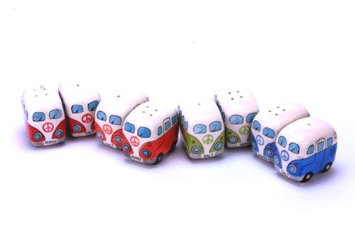 24-7sale Camper Bus Salzstreuer/Pfefferstreuer - aus Keramik, Farbe wählbar, im 2er Set. (Grün-Rot)
