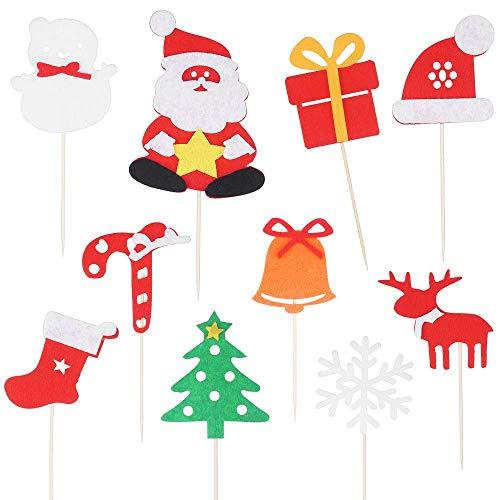 28PCS Christmas Cupcake Topper Cake picks Santa Claus Evergreen Tree Snowman Gift Box Hat Elk Deer Sock Walking Stick Jingle Bell Snowflake Winter Theme Holiday Party Glitter Cake Toppers Picks Christ