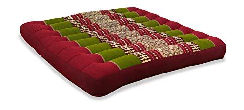livasia Sitzkissen Stuhlauflage groß I Bodenkissen Indoor / Outdoor I Meditationskissen Yogakissen I Stuhlauflage für Palettenmöbel I Steppkissen für Stuhl und Bank 50 x 50 x 6,5 cm (Rot / Grün)