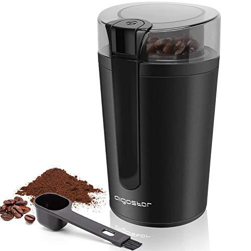Aigostar Natural - Molinillo compacto de café, especias, semillas o granos, 200W, capacidad 60 gr, cuchillas de acero inoxidable con láminas antidesgaste. Libre de BPA. Diseño exclusivo