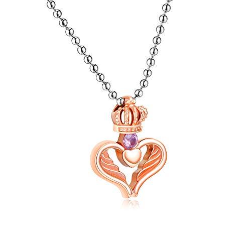 Burenqi Corazón romántico Colgante, Collar de Mujeres Hombres Pareja joyería Collar Oro Negro de Oro Rosa, Corona de circón de Acero Inoxidable, Collar de Oro Rosa