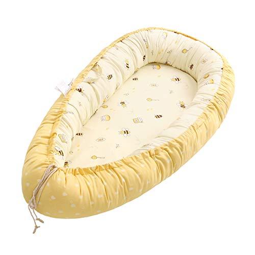 Miracle Baby Cama Nido Bebe,Nido Bebé Portátil, Cuna Nidos Ajustable, Reductor de Cuna Nidos,Multifuncional Cuna Cama de Viaje para Bebe Dormir,Abeja(88x53x15cm)