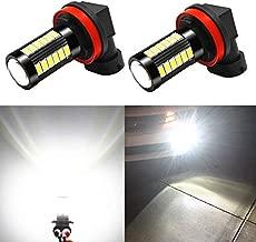 Alla Lighting H8 H11 LED Fog Light Bulbs or DRL 6000K Xenon White, H16 H11LL H8LL H1155 2800 Lumens Xtreme Super Bright 5730 33-SMD 12V Replacement for Cars, Trucks