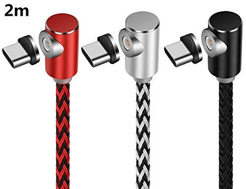 L-Form-magnetisches Nylon geflochtenes Schnellaufladen USB-Art C-Kabel, 3Pack 6FT, das Art C-Kabel für Sam sungs-Galaxie-Anmerkung 8, Oneplus 5, Huawei Ascend P9 auflädt