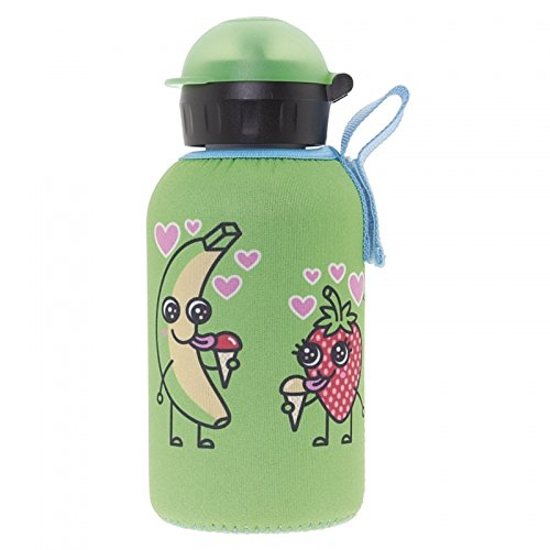Katuki Saguyaki - Botella Infantil Térmica 0,35L de Acero Inoxidable 18/8 con Funda de Neopreno Verde y Tapón Hit