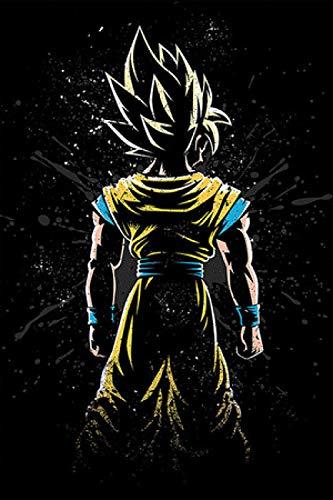 YWOHP Goku Anime Poster Boy impresión en Lienzo Pintura Gran Cartel Artista de la Pared decoración del hogar Imagen de Dibujos Animados para niños Dormitorio 60x80cm_No_Frame_Light_Green