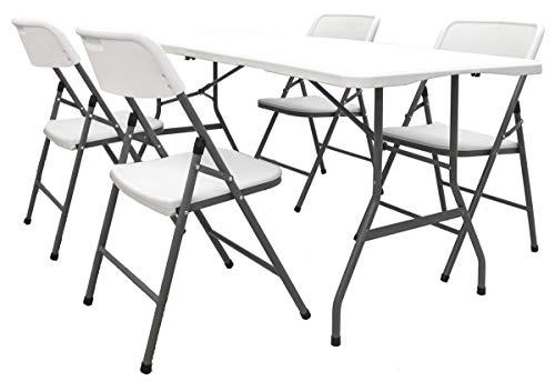 AMANKA Conjunto de Muebles de jardín, Mesa de 180 cm con 4 sillas, Plegable, Color Blanco