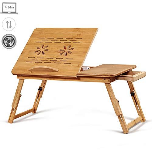 HPDOP Höhenverstellbar laptoptisch mit lüfter, Klappbarer Laptoptisch Frühstücktisch für Sofa oder Bett, Neigungswinkel verstellbar Betttisch aus Bambus mit Schublade 55x34x27cm