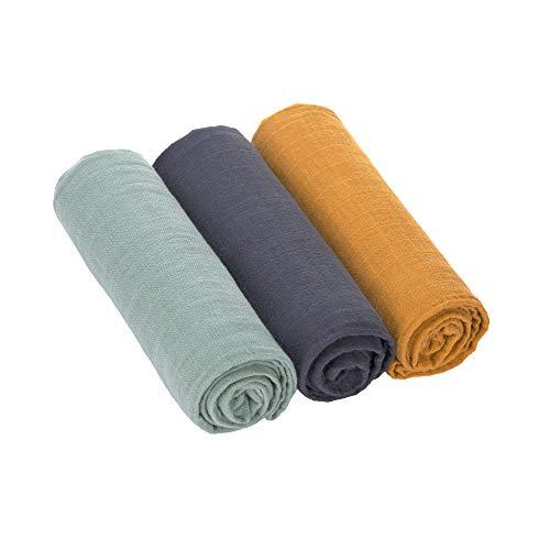 Lässig 1312008973 Swaddle & Burp Blanket L green/navy/mustard, mehrfarbig, 102 g
