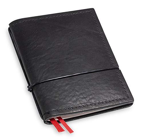 A7 und 9 mm dünn! Revolutionäres, kleines X17-Notizbuch! Belgisches Leder schwarz, Innen: 1 Notizheft (blanko) + Doppeltasche, austauschbar=nachhaltig! Made in Germany, 17 Jahre Garantie*
