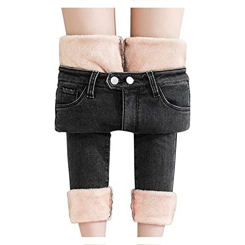 Jeans Damen Straight-High-Waist Winter-Gefüttert-Thermohose: Fleece Jeanshose Lang Winterhose Damen Thermo Fleecehose Warm Leicht Outdoor Sporthose