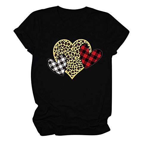 KIMODO Shirt Bluse Drucken Oberteile Valentinstag Frauen O-Ausschnitt Pullover Leopard Liebesdruck Kurzarm Bluse T-Shirt Tunika Tops (A-Schwarz, L)