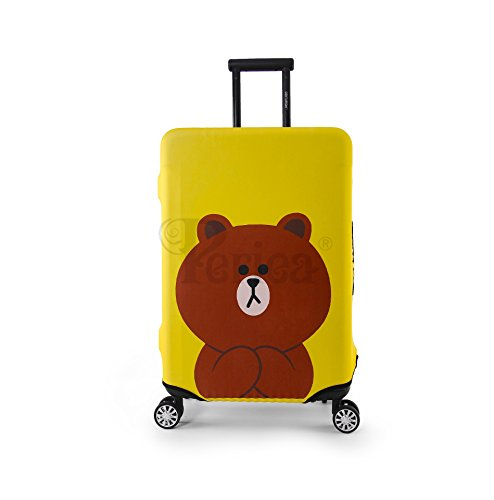 Periea Premium Elasticated Suitcase Luggage Cover - 38 Different Designs - Small, Medium or Large (Medium, Yellow Teddy)
